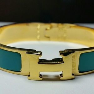 Jewelry - Teal Color Enamel H Bangle